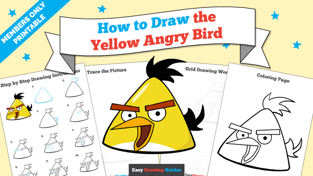 download a printable PDF of Yellow Angry Bird drawing tutorial