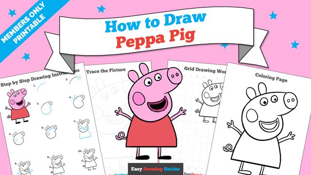 Printables thumbnail: How to draw Peppa Pig