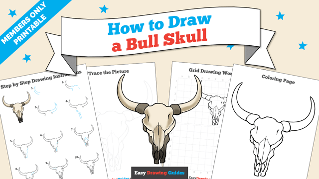 Printables thumbnail: How to draw a Bull Skull