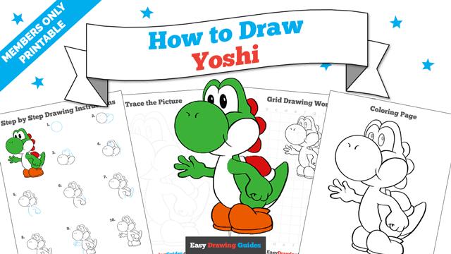 download a printable PDF of Yoshi drawing tutorial