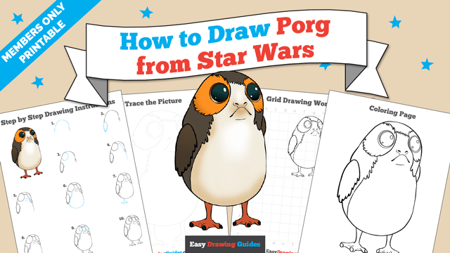 download a printable PDF of Porg from Star Wars drawing tutorial