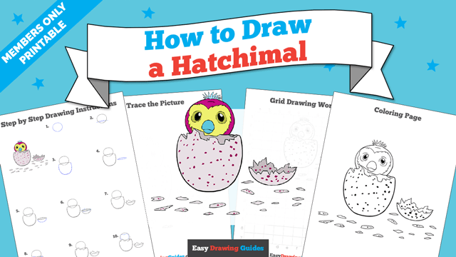 download a printable PDF of Hatchimal drawing tutorial