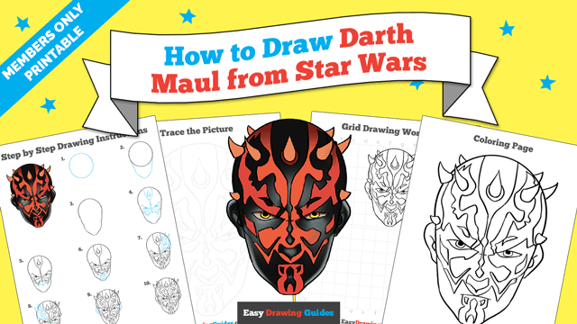 download a printable PDF of Darth Maul from Star Wars drawing tutorial
