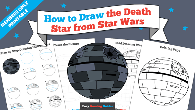 download a printable PDF of Death Star from Star Wars drawing tutorial