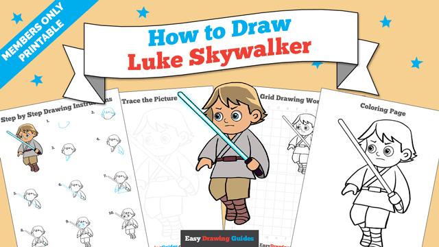 Printables thumbnail: How to draw Luke Skywalker