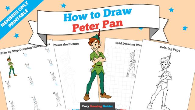 download a printable PDF of Peter Pan drawing tutorial