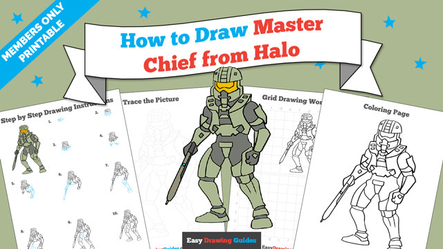 download a printable PDF of Master Chief from Halo drawing tutorial