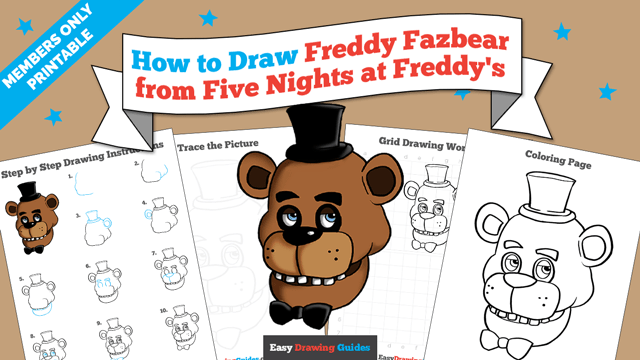 download a printable PDF of Freddy Fazbear at Five Nights at Freddy's drawing tutorial