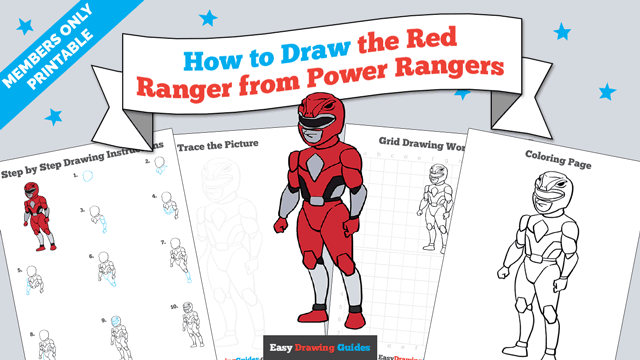 Printables thumbnail: How to draw the Red Ranger from Power Rangers