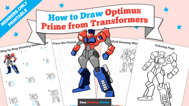 download a printable PDF of Optimus Prime from Transformers drawing tutorial