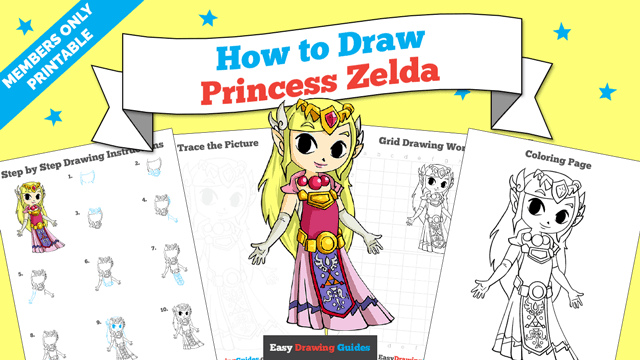 download a printable PDF of Princess Zelda drawing tutorial