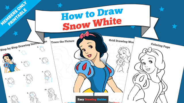 download a printable PDF of Snow White drawing tutorial