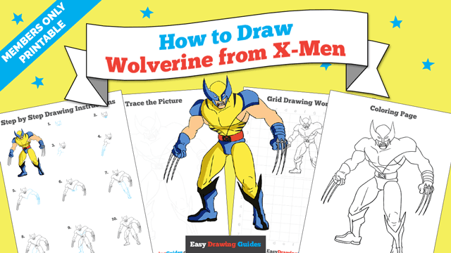 download a printable PDF of Wolverine from X-Men drawing tutorial