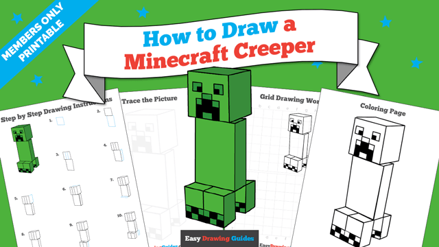 download a printable PDF of Minecraft Creeper drawing tutorial