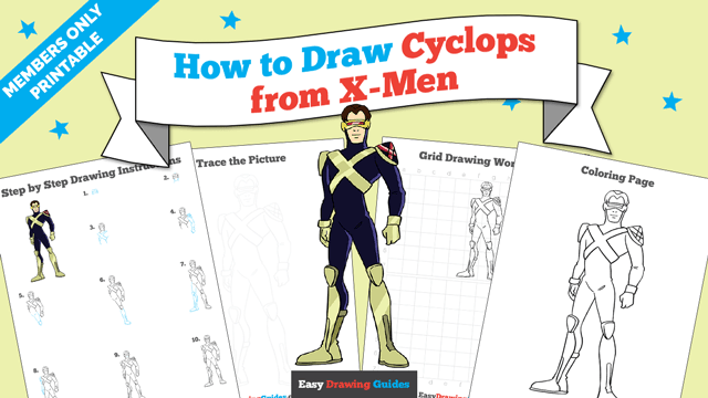 download a printable PDF of Cyclops from X-Men drawing tutorial