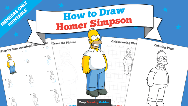 Printables thumbnail: How to draw Homer Simpson