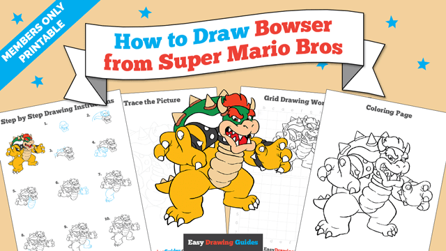 download a printable PDF of Bowser from Super Mario Bros drawing tutorial