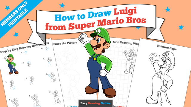 download a printable PDF of Luigi from Super Mario Bros drawing tutorial