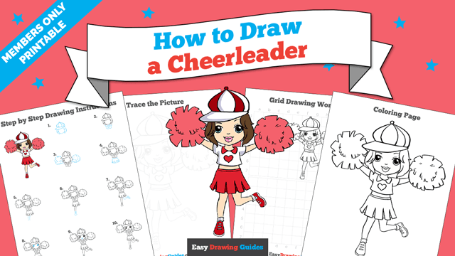 Printables thumbnail: How to draw a Cheerleader