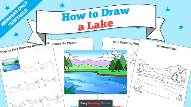 download a printable PDF of Lake drawing tutorial