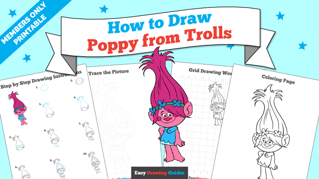 download a printable PDF of Poppy from Trolls drawing tutorial