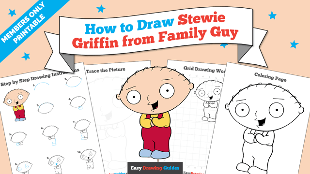 Printables thumbnail: How to draw Stewie Griffin from Family Guy