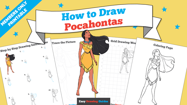 download a printable PDF of Pocahontas drawing tutorial