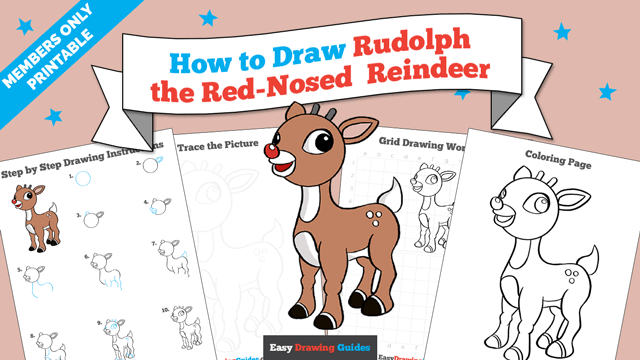 download a printable PDF of Rudolph the Red-Nosed Reindeer drawing tutorial