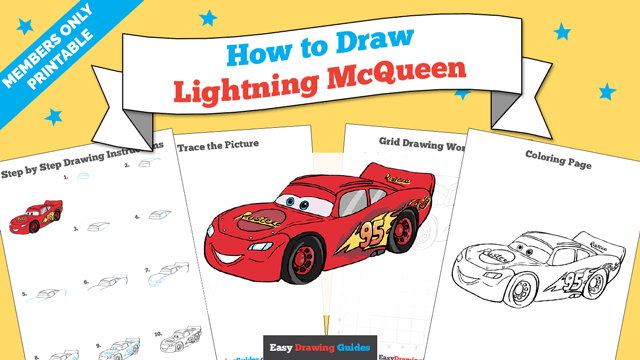 download a printable PDF of Lightning McQueen drawing tutorial