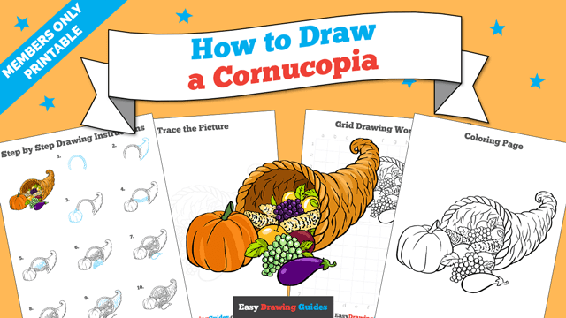 download a printable PDF of Cornucopia drawing tutorial