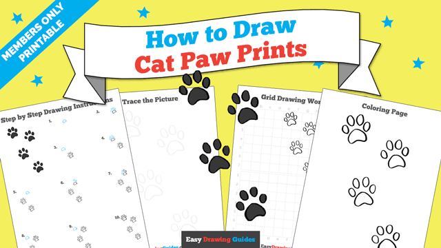 download a printable PDF of Cat Paw Prints drawing tutorial