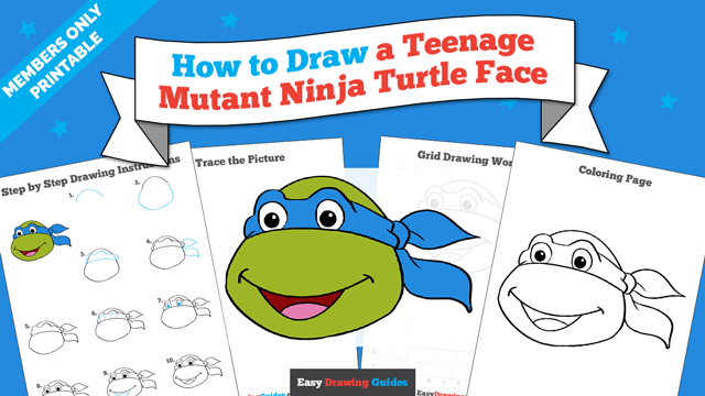 download a printable PDF of Teenage Mutant Ninja Turtle Face drawing tutorial