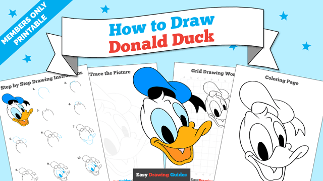 Printables thumbnail: How to draw Donald Duck
