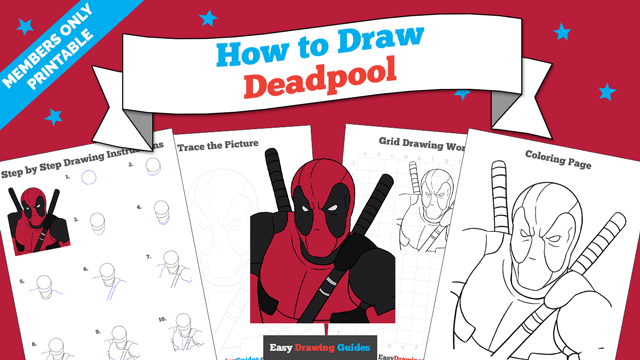 download a printable PDF of Deadpool drawing tutorial
