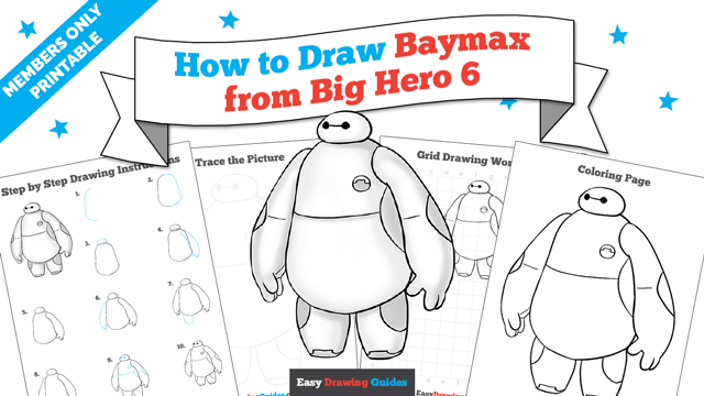 download a printable PDF of Baymax from Big Hero 6 drawing tutorial