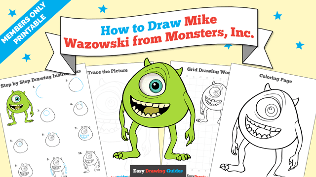 download a printable PDF of Mike Wazowski from Monsters, Inc. drawing tutorial