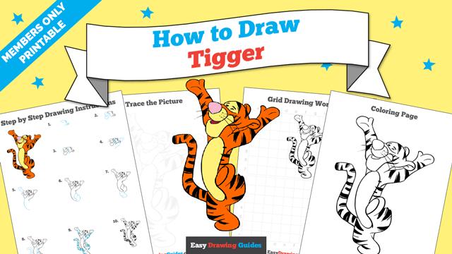 download a printable PDF of Tigger drawing tutorial