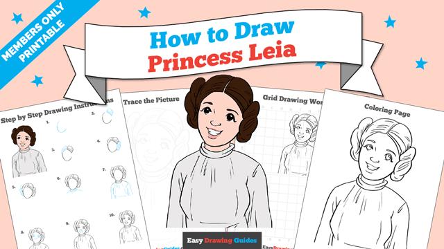 Printables thumbnail: How to draw Princess Leia