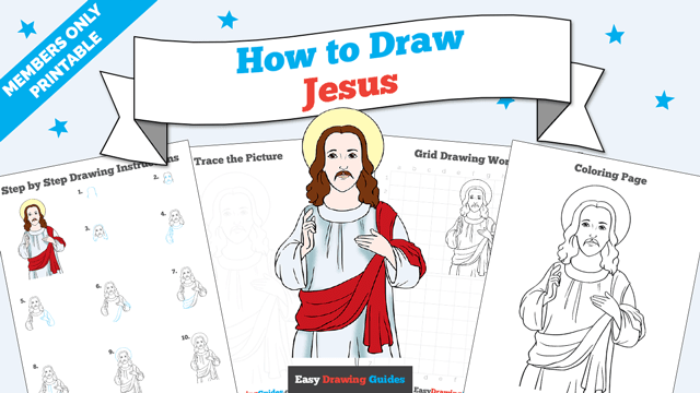 download a printable PDF of Jesus drawing tutorial