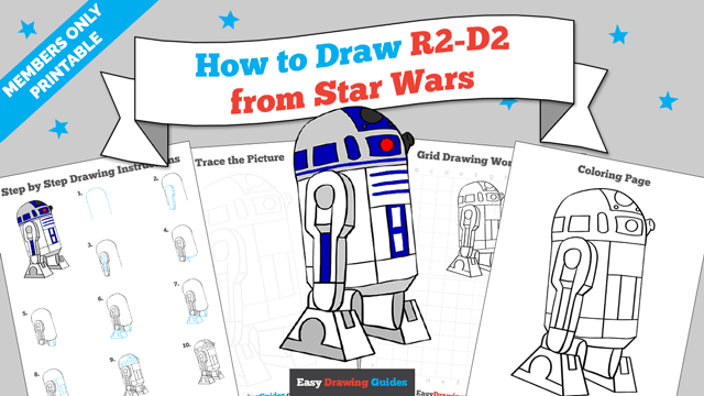 download a printable PDF of R2-D2 from Star Wars drawing tutorial