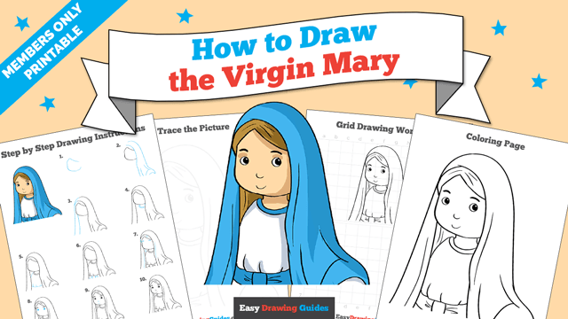 download a printable PDF of Virgin Mary drawing tutorial