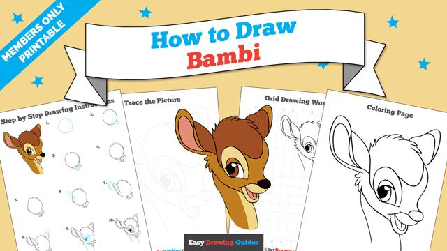 Printables thumbnail: How to draw Bambi
