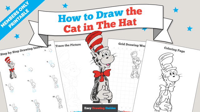 Printables thumbnail: How to draw the Cat in the Hat
