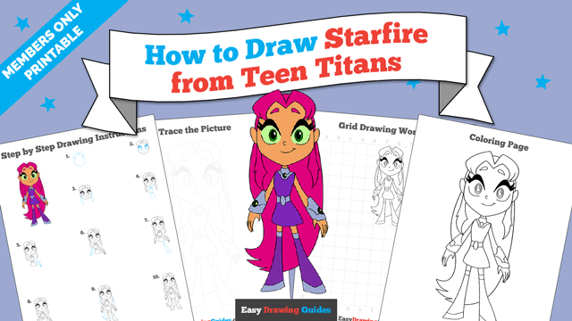 download a printable PDF of Starfire from Teen Titans drawing tutorial
