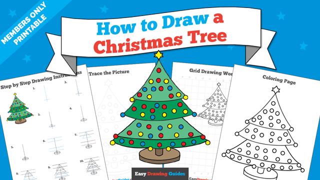 download a printable PDF of Christmas Tree drawing tutorial