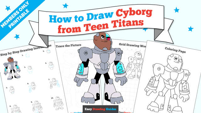 download a printable PDF of Cyborg from Teen Titans drawing tutorial