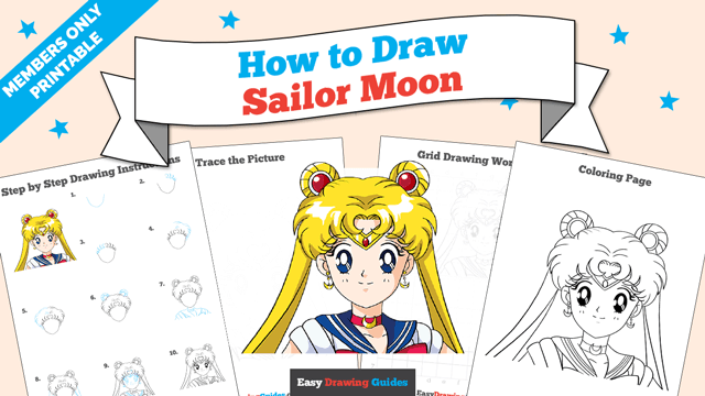 download a printable PDF of Sailor Moon drawing tutorial