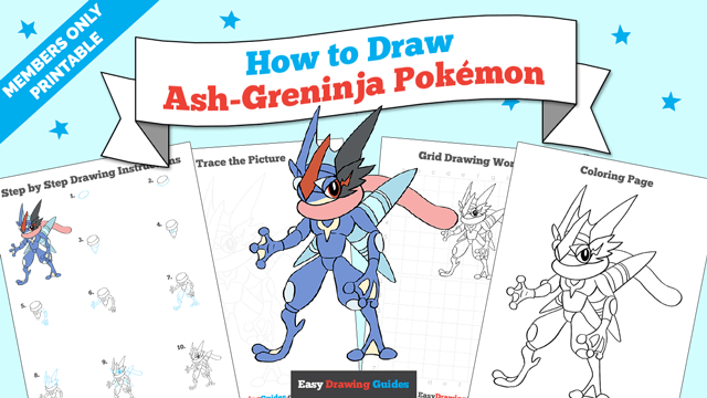 download a printable PDF of Ash-Greninja from Pokémon drawing tutorial