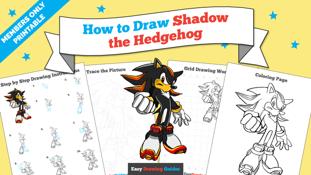 download a printable PDF of Shadow the Hedgehog drawing tutorial