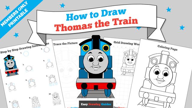 Printables thumbnail: How to draw Thomas the Train